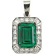 18K White Gold Emerald/Diamond Drop Pendant - You Save $4,329.23