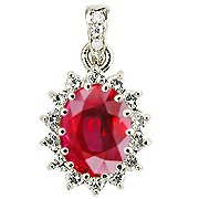 18K White Gold Ruby/Diamond Drop Pendant - You Save $2,525.49