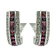 18K White Gold Ruby/Diamond Hoop Earrings - You Save $3,943.71
