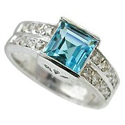 18K White Gold Aquamarine/Diamond Multi Stone Ring - You Save $1,655.45