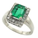 18K White Gold Emerald/Diamond Multi Stone Ring - You Save $8,919.34