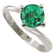 18K White Gold Emerald Solitaire Ring - You Save $2,226.96