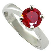 18K White Gold Ruby Solitaire Ring - You Save $3,066.79