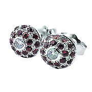 18K White Gold Ruby/Diamond Stud Earrings - You Save $1,944.62