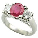 18K White Gold Ruby/Diamond Three Stone Ring - You Save $5,641.13