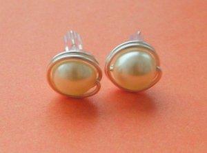 Wire Wrapped 8mm Creamrose Light Swarovski Pearl Sterling Silver Stud Earrings