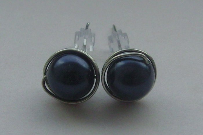Wire Wrapped 8mm Night Blue Swarovski Pearl Sterling Silver Stud Earrings