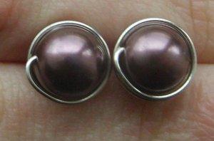 Wire Wrapped 8mm Burgundy Swarovski Pearl Sterling Silver Stud Earrings