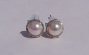 6mm Rosaline Swarovski Pearl Sterling Silver Stud Earrings