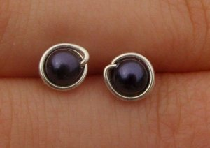 Wire Wrapped 4mm Dark Purple Swarovski Pearl Sterling Silver Stud Earrings