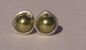 Wire Wrapped 6mm Light Green Swarovski Pearl Sterling Silver Stud Earrings