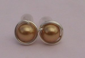 Wire Wrapped 6mm Bright Gold Swarovski Pearl Sterling Silver Stud Earrings