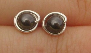 Wire Wrapped 4mm Black Swarovski Pearl Sterling Silver Stud Earrings