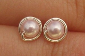 Wire Wrapped 4mm Rosaline Swarovski Pearl Sterling Silver Stud Earrings