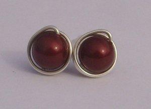 Wire Wrapped 8mm Bordeaux Swarovski Pearl Sterling Silver Stud Earrings