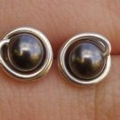 Wire Wrapped 5mm Dark Grey Swarovski Pearl Sterling Silver Stud Earrings