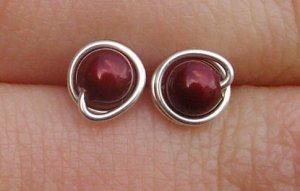 Wire Wrapped 4mm Bordeaux Swarovski Pearl Sterling Silver Stud Earrings