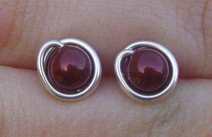 Wire Wrapped 5mm Bordeaux Swarovski Pearl Sterling Silver Stud Earrings