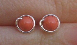 Wire Wrapped 4mm Coral Swarovski Pearl Sterling Silver Stud Earrings