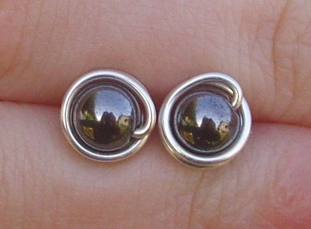 Wire Wrapped 6mm Hematite Sterling Silver Stud Earrings