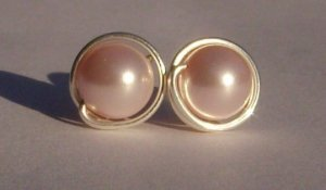 Wire wrapped 8mm Rosaline Swarovski Pearl Sterling Silver Stud Earrings