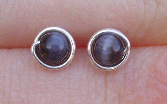 Wire Wrapped 4mm Black Cats Eye Sterling Silver Stud Earrings
