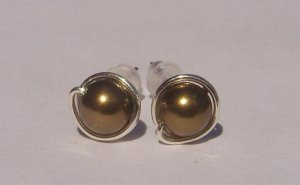 Wire Wrapped 5mm Antique Brass Swarovski Pearl Sterling Silver Stud Earrings