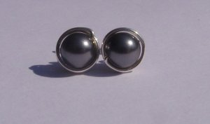 Wire Wrapped 6mm Dark Grey Swarovski Pearl Sterling Silver Stud Earrings