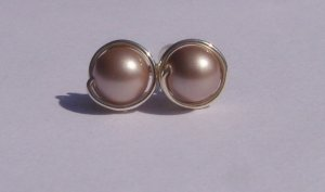 Wire Wrapped 6mm Powder Almond Swarovski Pearl Sterling Silver Stud Earrings