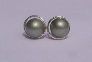 Wire Wrapped 8mm Powder Green Swarovski Pearl Sterling Silver Stud Earrings