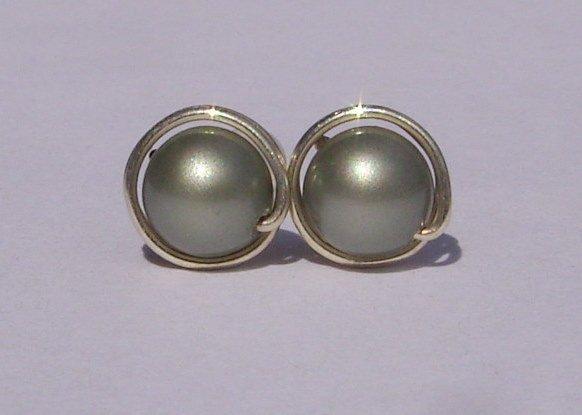 Wire Wrapped 6mm Powder Green Swarovski Pearl Sterling Silver Stud Earrings