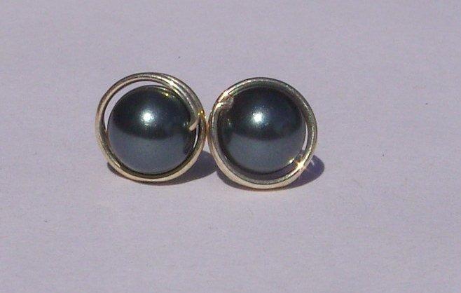 Wire Wrapped 6mm Tahitian Swarovski Pearl Sterling Silver Stud Earrings