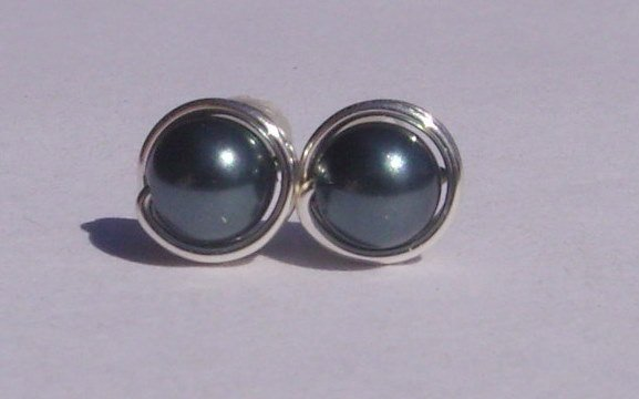 Wire Wrapped 5mm Tahitian Swarovski Pearl Sterling Silver Stud Earrings