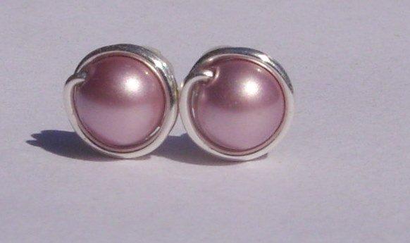 Wire Wrapped 5mm Powder Rose Swarovski Pearl Sterling Silver Stud Earrings