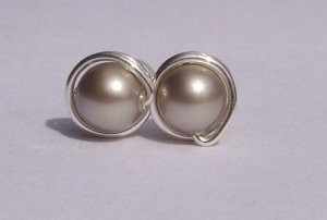 Wire Wrapped 5mm Platinum Swarovski Pearl Sterling Silver Stud Earrings