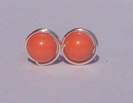 Wire Wrapped 6mm Coral Swarovski Pearl Sterling Silver Stud Earrings
