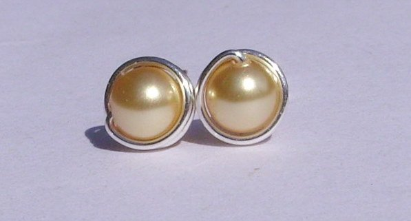Wire Wrapped 5mm Gold Swarovski Pearl Sterling Silver Stud Earrings