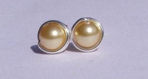 Wire Wrapped 5mm Gold Swarovski Pearl Sterling Silver Stud Earrings