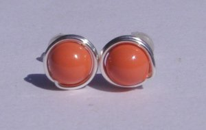 Wire Wrapped 5mm Coral Swarovski Pearl Sterling Silver Stud Earrings