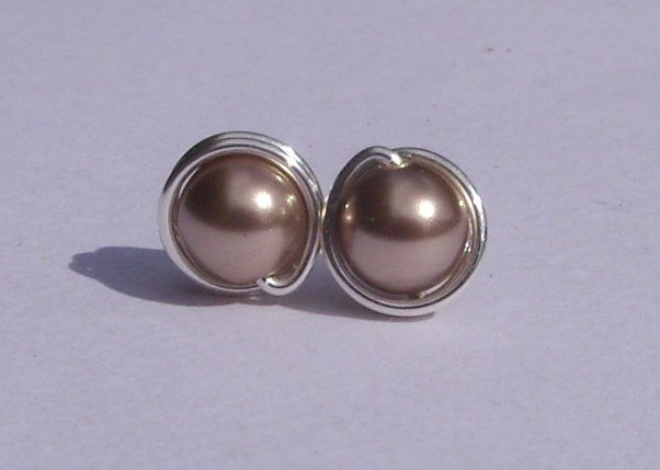 Wire Wrapped 5mm Bronze Swarovski Pearl Sterling Silver Stud Earrings