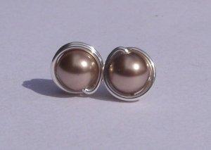 Wire Wrapped 5mm Bronze Swarovski Pearl Sterling Silver Stud Earrings