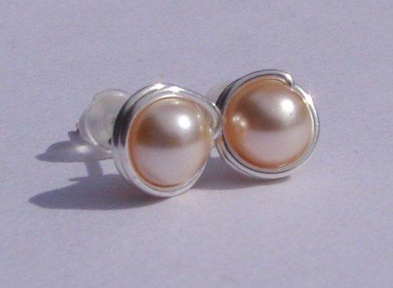 Wire Wrapped 5mm Peach Swarovski Pearl Sterling Silver Stud Earrings