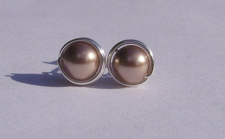 Wire Wrapped 6mm Bronze Swarovski Pearl Sterling Silver Stud Earrings
