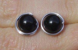Wire Wrapped 8mm Mystic Black Swarovski Pearl Sterling Silver Stud Earrings