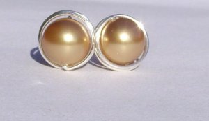 Wire Wrapped 8mm Bright Gold Swarovski Pearl Sterling Silver Stud Earrings