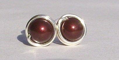 Wire Wrapped 5mm Maroon Swarovski Pearl Sterling Silver Stud Earrings