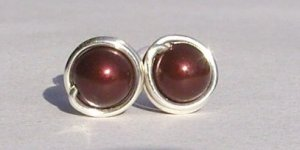 Wire Wrapped 5mm Maroon Swarovski Pearl Sterling Silver Stud Earrings