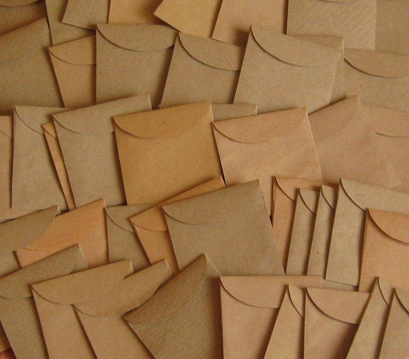 "10 Mini Brown Handmade Recycled Envelopes - 1 7/8"" x 2"""