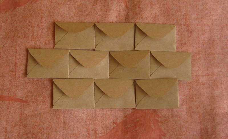 "10 Tiny Brown Handmade Recycled Envelopes - 1.5"" x 2"""