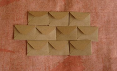 "100 Tiny Brown Handmade Recycled Envelopes - 1.5"" x 2"""